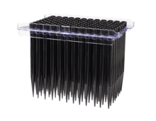Conductive disposable tips, in hanging rack