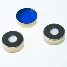 PTFE/Silicone (blue/white) Headspace Gold Aluminum Crimp Caps with Ultra Low Bleed Septa
