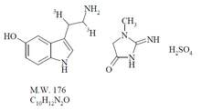 Chemical structure of tritiated 5-hydroxytryptamine creatinine sulfate (serotonin, 5-HT)