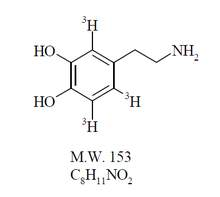 Chemical structure of tritiated dihydroxyphenylethylamine (dopamine)